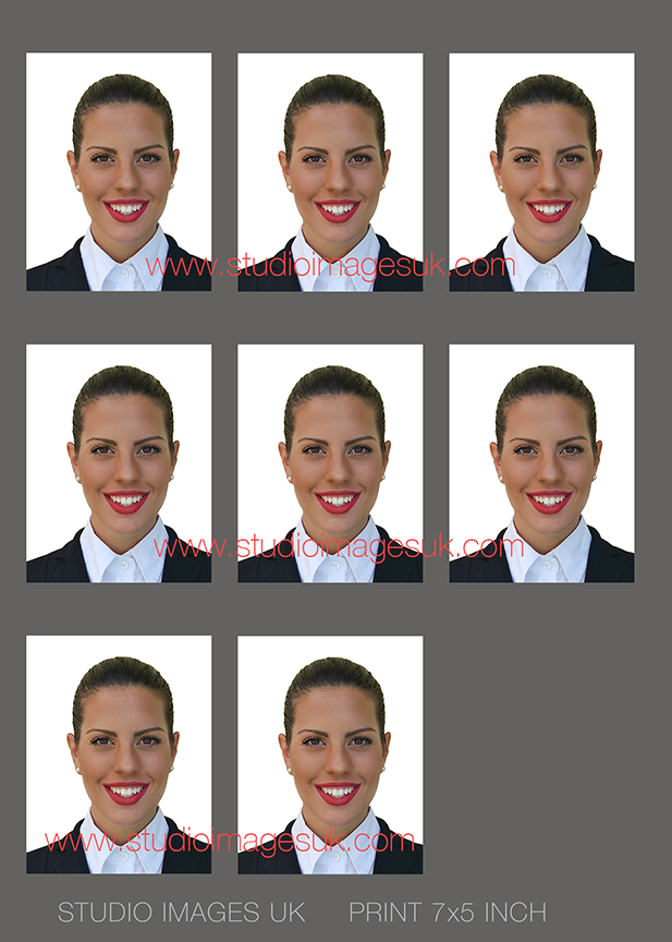 Finished passport image set - For the half length image sent to us, we edit to white background and resize each passport image to 45x35mm. We provide a set of 6 or 8 images on a sheet as it is easier to print. We also provide our client with a single passport image at 45x35mm for online submission.