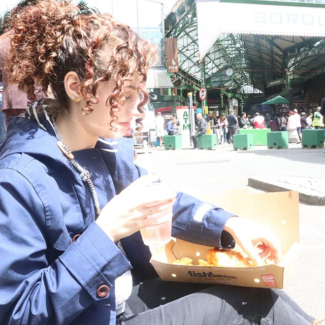 The verdict is in: I still don't like fish and chips. Sorry England. #england #england2018 #travel #travelfashion #whatiwore #fishandchips #boroughmarket  Rain jacket @joulesclothing