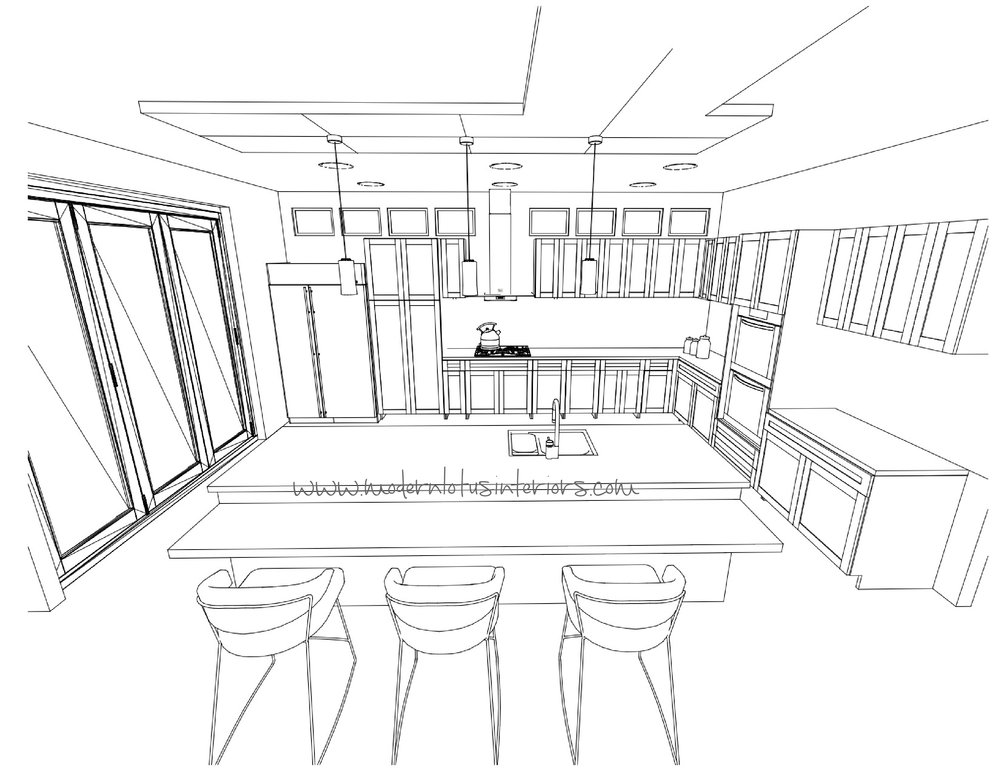 Kitchen : Line Drawing - No materials, no rendering