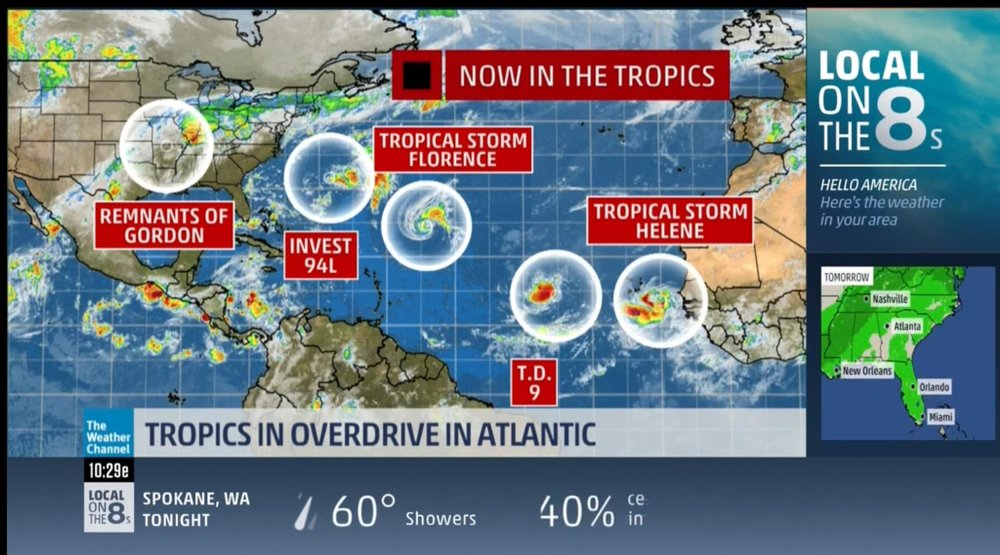 MAP OF Tropical developments, SEPT 8, 2018 : The Weather Channel was constantly on everywhere we went. It also let us know where we were more than likely going to go to prepare for storms.