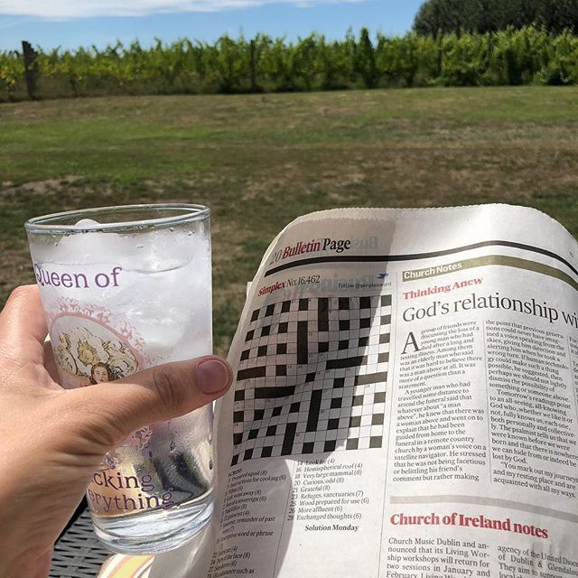 G&T and the  @irishtimesnews crossword, delivered to Hawke's Bay by my returning husband, AND first proper day off since Christmas - am in heaven 😊