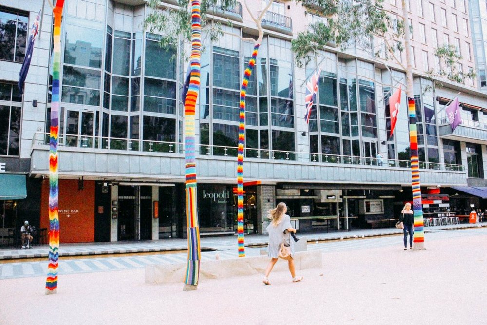 Yarn Bombing in Melbourne City Square