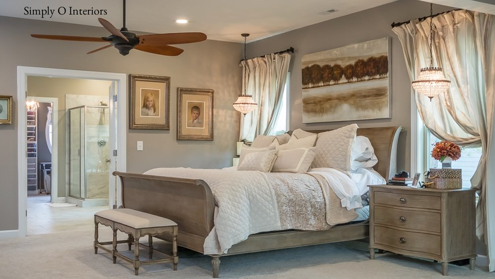 Neutral Master Bedroom with Pendant Lighting