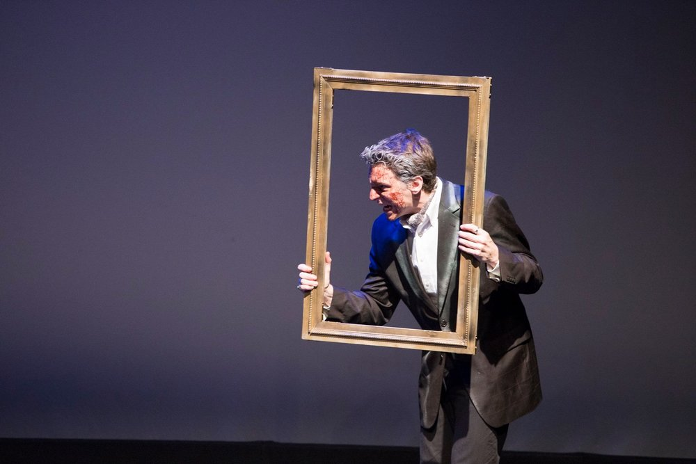 """""""Having an actor play the increasingly wretched painting while holding an empty frame (an expressive, preternaturally still Carter Horton), is inspired.""""   -Alex Cohen for TheatrePizzazz"""