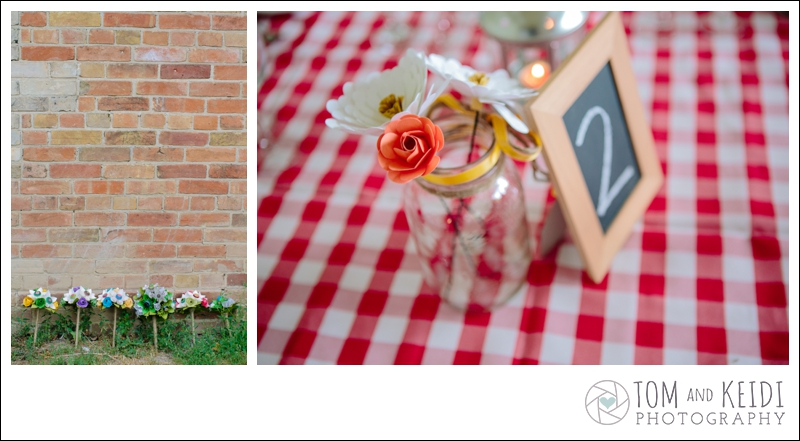 the little red button wedding flowers