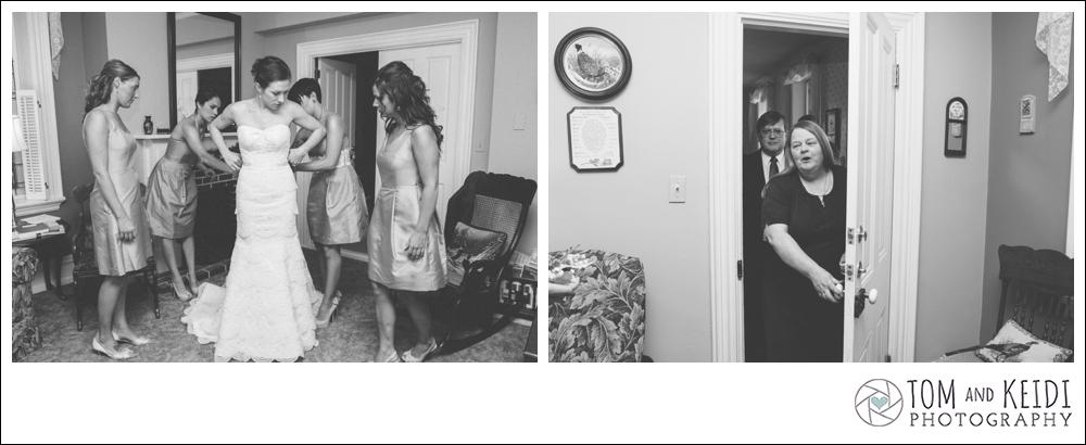 candid moment mom bride dress