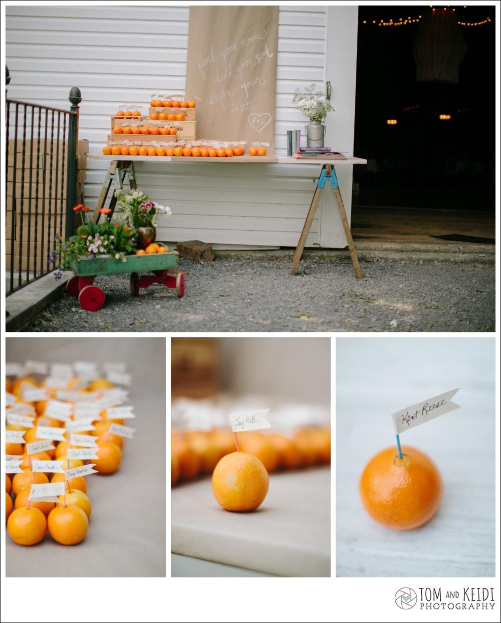eco friendly place card ideas oranges