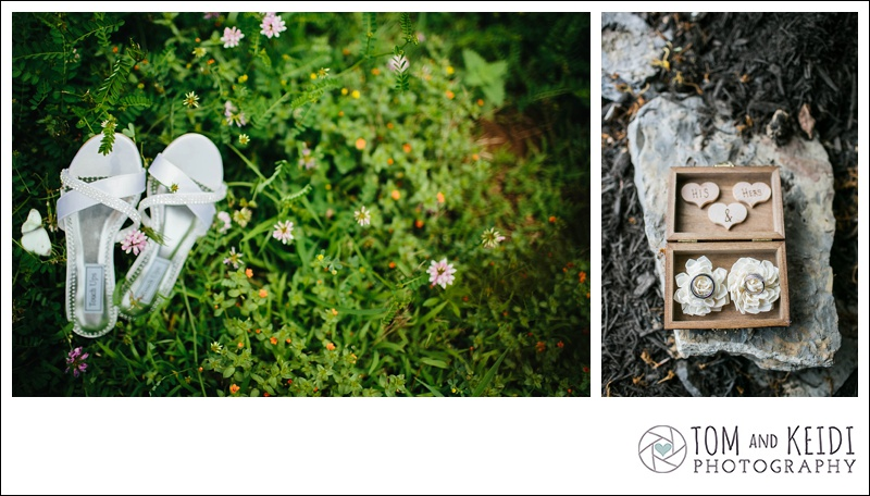 butterfly landing wedding shoe
