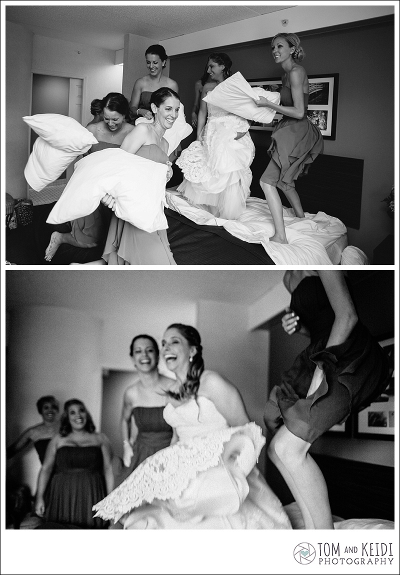 jumping on bed getting ready bridal party