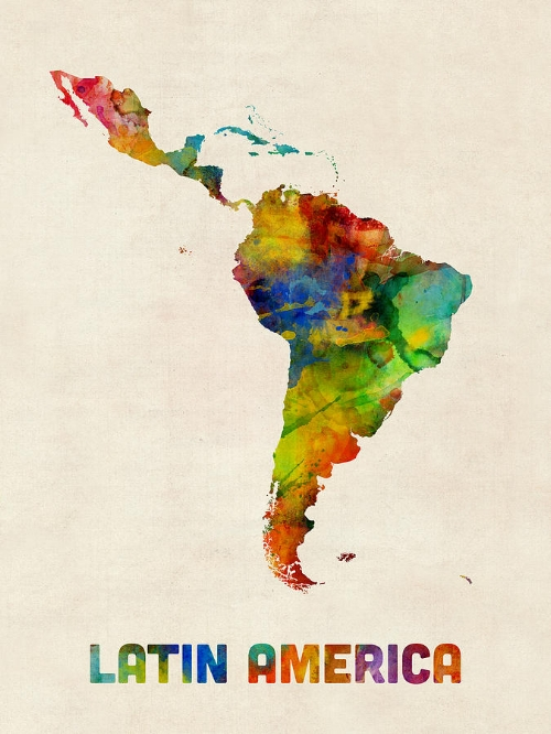 Latin America Watercolor Map is a piece of digital artwork by Michael Tompsett. Find more  by clicking   here  .
