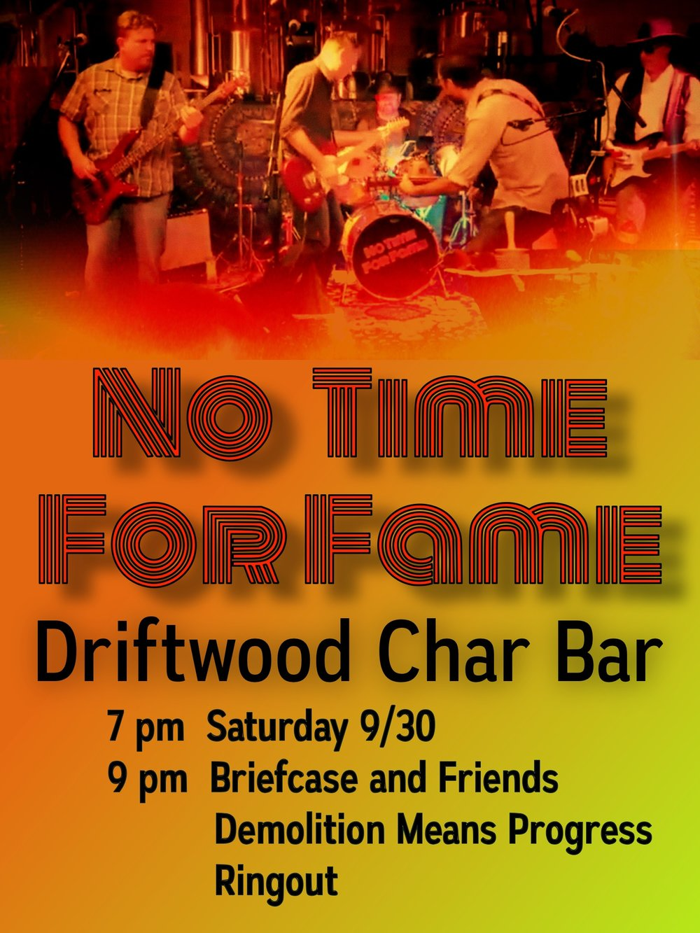 Driftwood Char bar - Minneapolis, MNSaturday, September 30, 20177:00 - 8:30 pmwith Demolition Means Progress, Briefcase, and Ringout