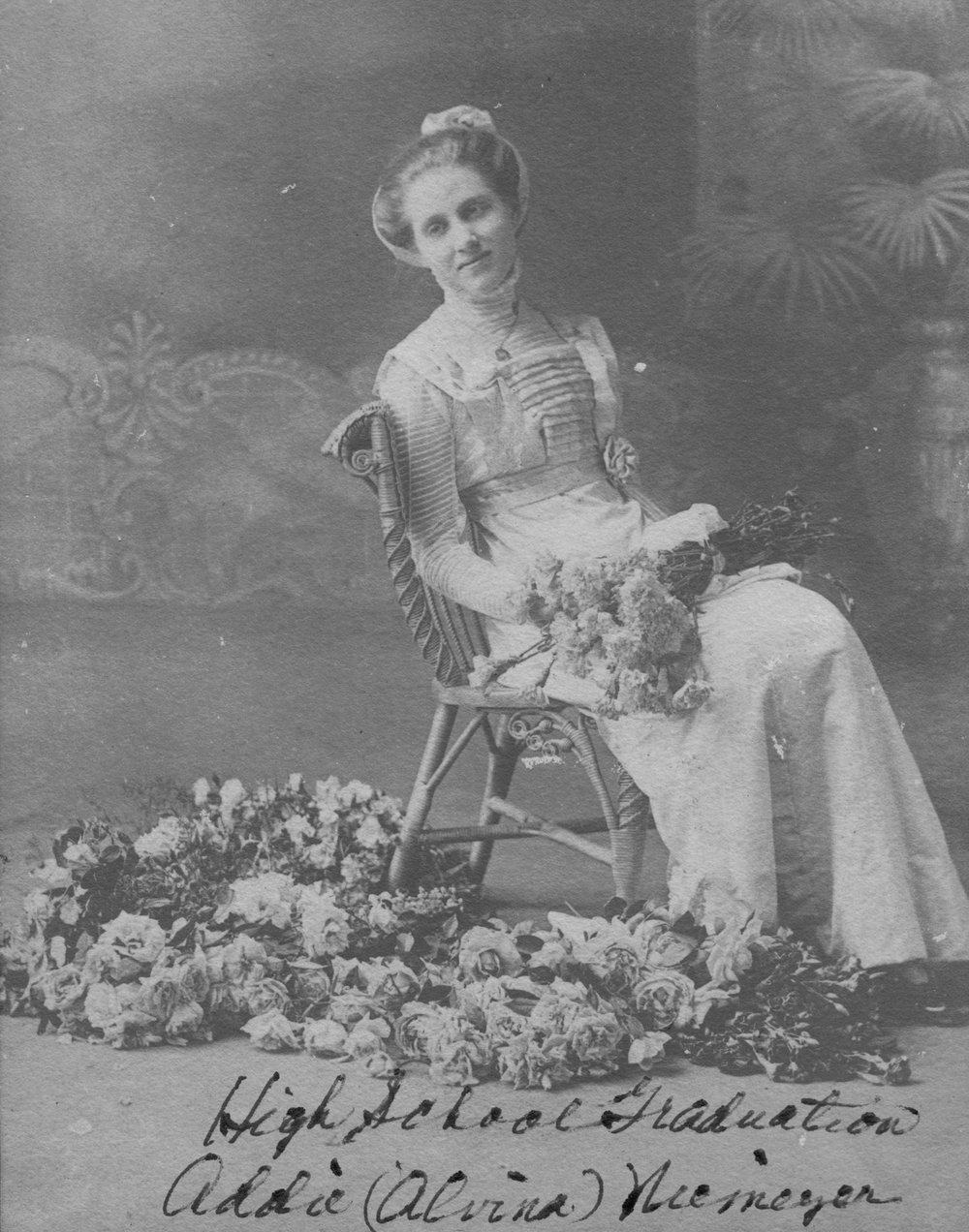 Addie Niemeyer, seen here in her 1908 high school graduation photo, resided in this home.
