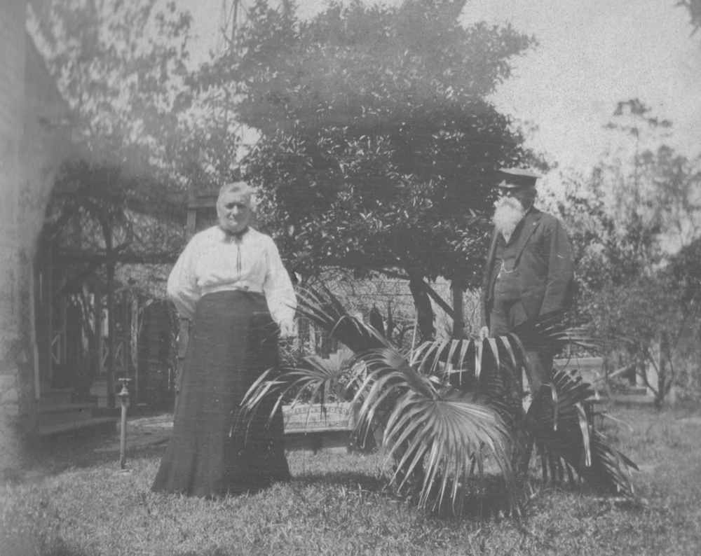 Josiah and wife Eliza at their home, sometime before her death in 1910.