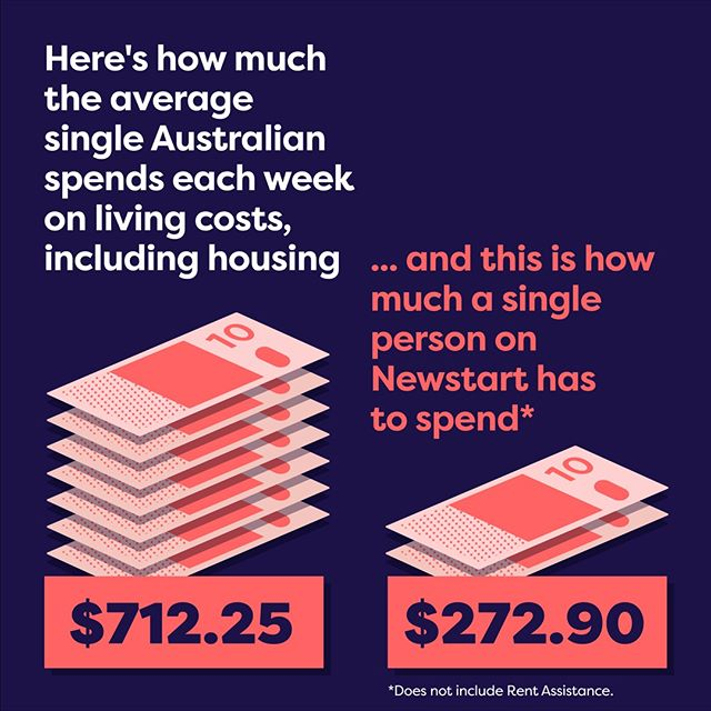 Living on Newstart means having less than half of what an average Australian has to spend on the basics. Could you live on as little as $38.98 a day? Talk to us. sharethepie.com.au 🔗link in bio