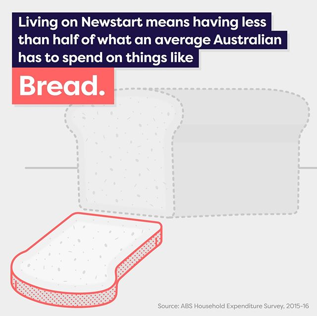 Living on Newstart means having less than half of what an average Australian has to spend on the basics. Have you ever lived on as little as $38.98 a day?  Source: ABS Household expenditure survey 2015-2016.