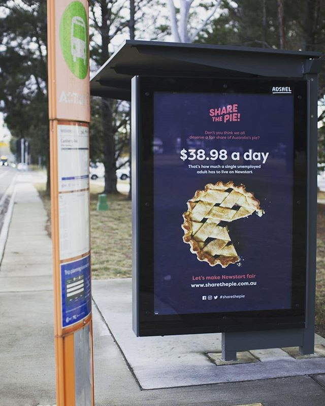 See our Share the Pie posters while waiting for your bus? Snap, tag or tweet us while you wait! And spare a thought for those waiting for an increase in Newstart. The last real increase was in 1994. #SharethePie⠀ .⠀ .⠀ .⠀ #ItsTime #RaisetheRate #increaseNewstart #ChangeLives #waitingforamate #poster #posterdesign #waiting #community