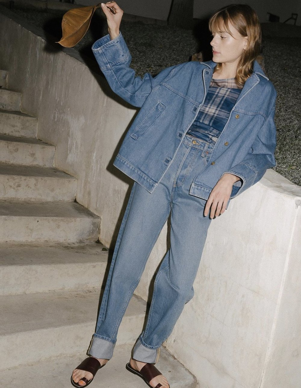 B SIDES HAVE 'NEW BLUES' |  The purposely oversized Stadium Jacket and Claude High Slouch Jean are the latest offering, and perfect pairing, from B SIDES JEANS | image via B Sides    LINK HERE >>>