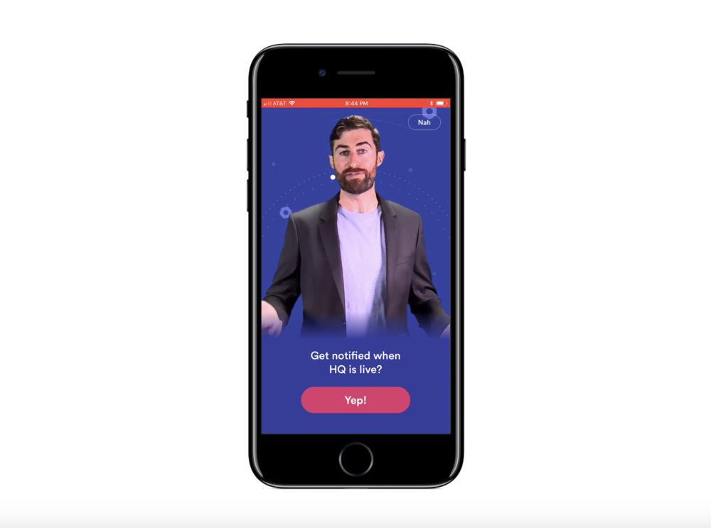 HQ - Trivia Live Game Show  by Intermediate Labs does an amazing job of creating a custom, entertaining video to explain to users why its important to give the developer permission to send push notifications.