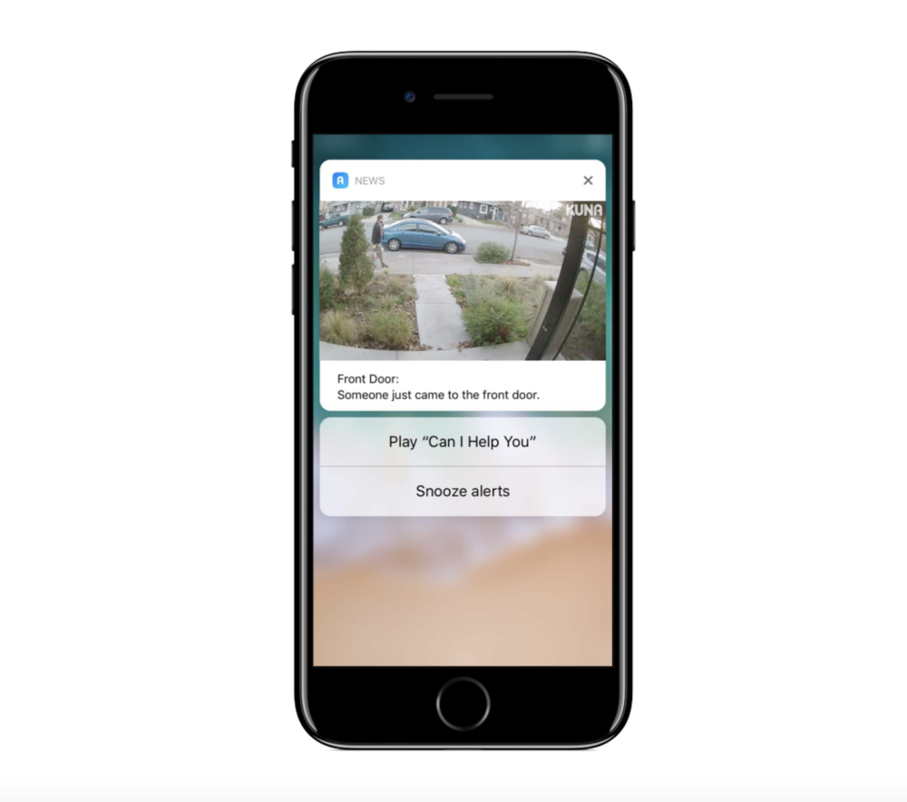 Kuna Smart Home Security        is an app that does a great job of using rich notifications. Not only do you get a notification when a camera is activated, but users can actually view live video directly in the notification. Super cool!