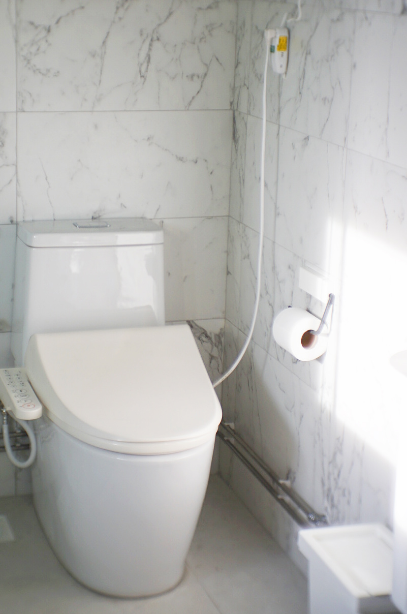 The Toshiba SCS-T160 automated Japanese toilet seat.