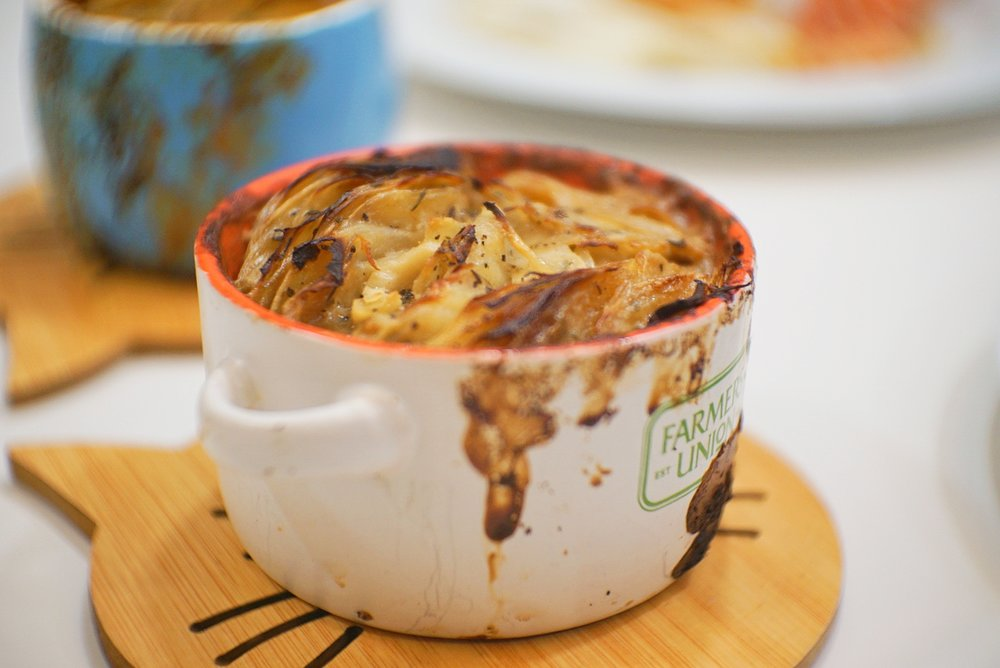 The potato gratin tastes exactly like how it looks - a savoury, creamy, guilty-pleasure.