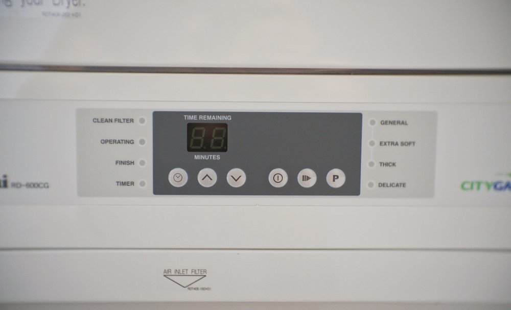 The control panel of the Rinnai RD-600CG gas clothes dryer.