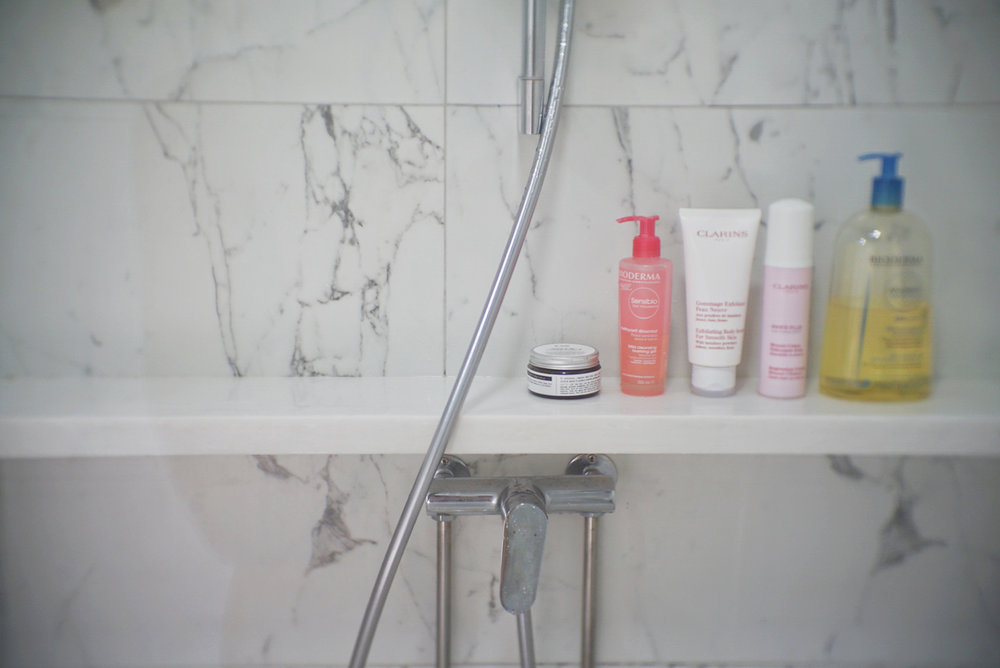 A ledge in the shower looks great and is convenient.