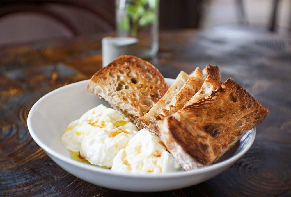 Our favourite dish of the day - burrata and sourdough.