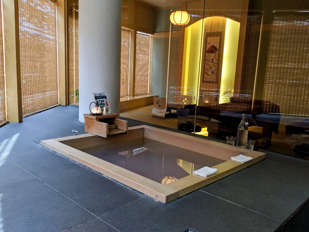 "The Hinoki Onsen uses Hinoki (cypress) wood for the bath ""tub""."
