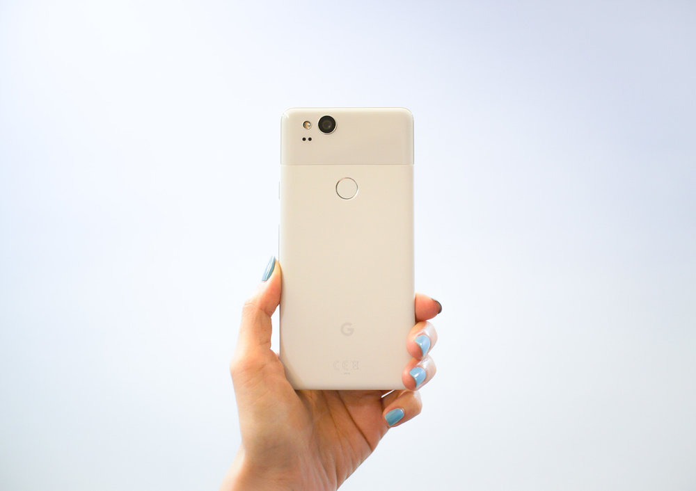 "The  Google Pixel 2 , in ""Clearly White""."