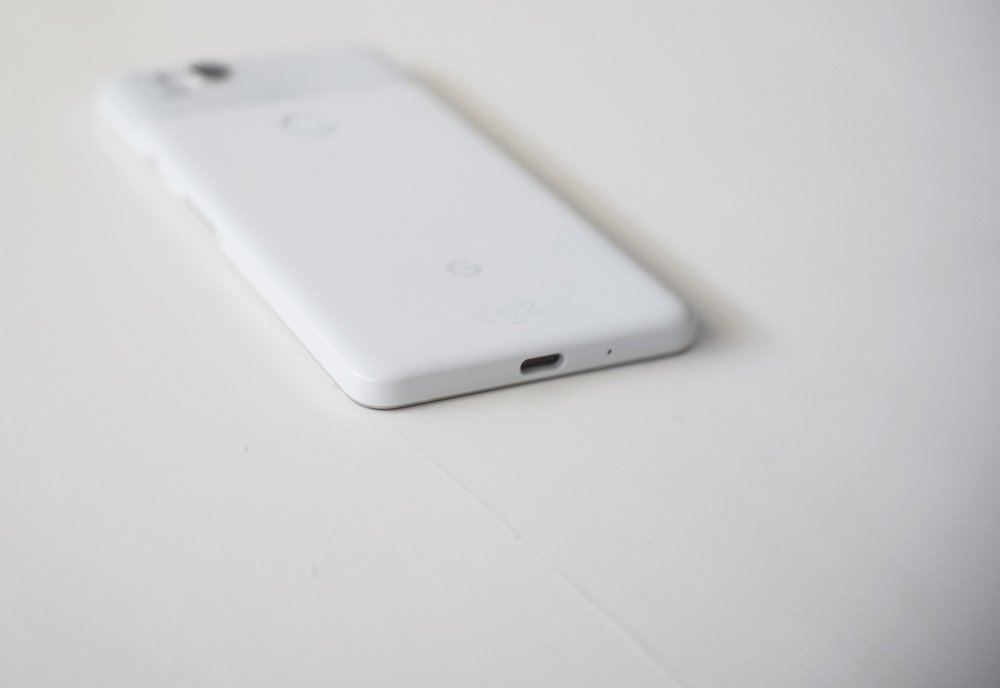 The Google Pixel 2 has a single USB-C port at the bottom. No 3.5mm headphone jack!