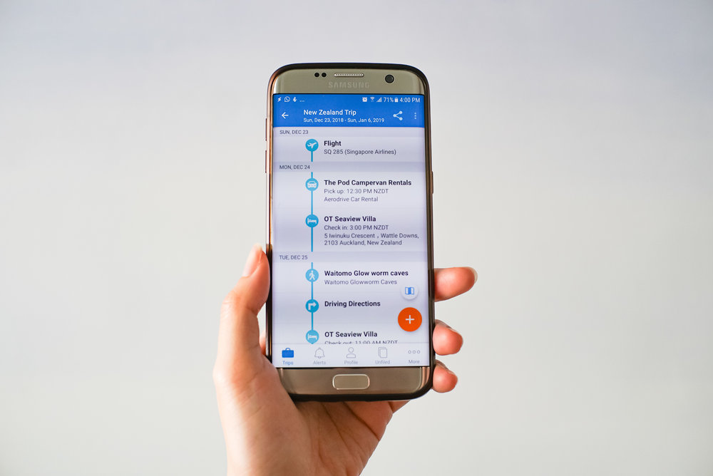 TripIt works as a mobile app too (pictured here on an Android phone).