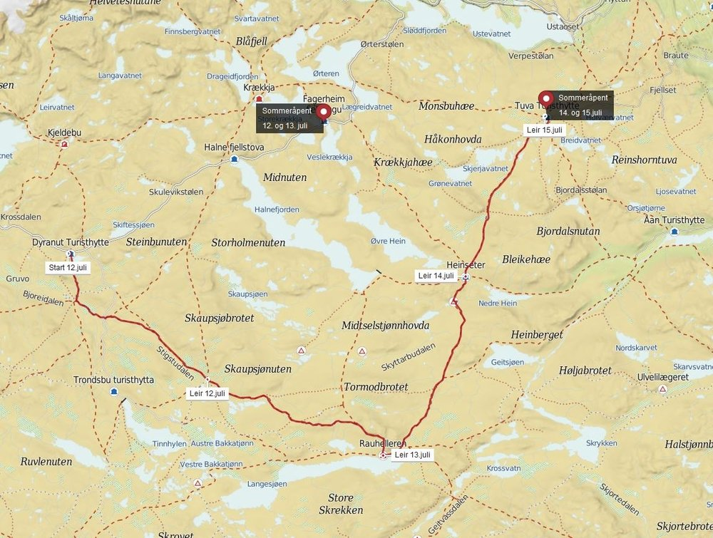Se større kart her:  Monsens rute over vidda