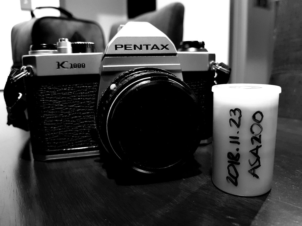 Pentax K1000 with my very first used roll of film