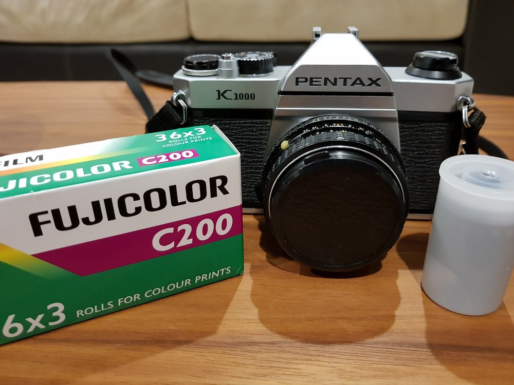 Pentax K1000 on the day of purchase with 3 rolls of Fujicolor C200
