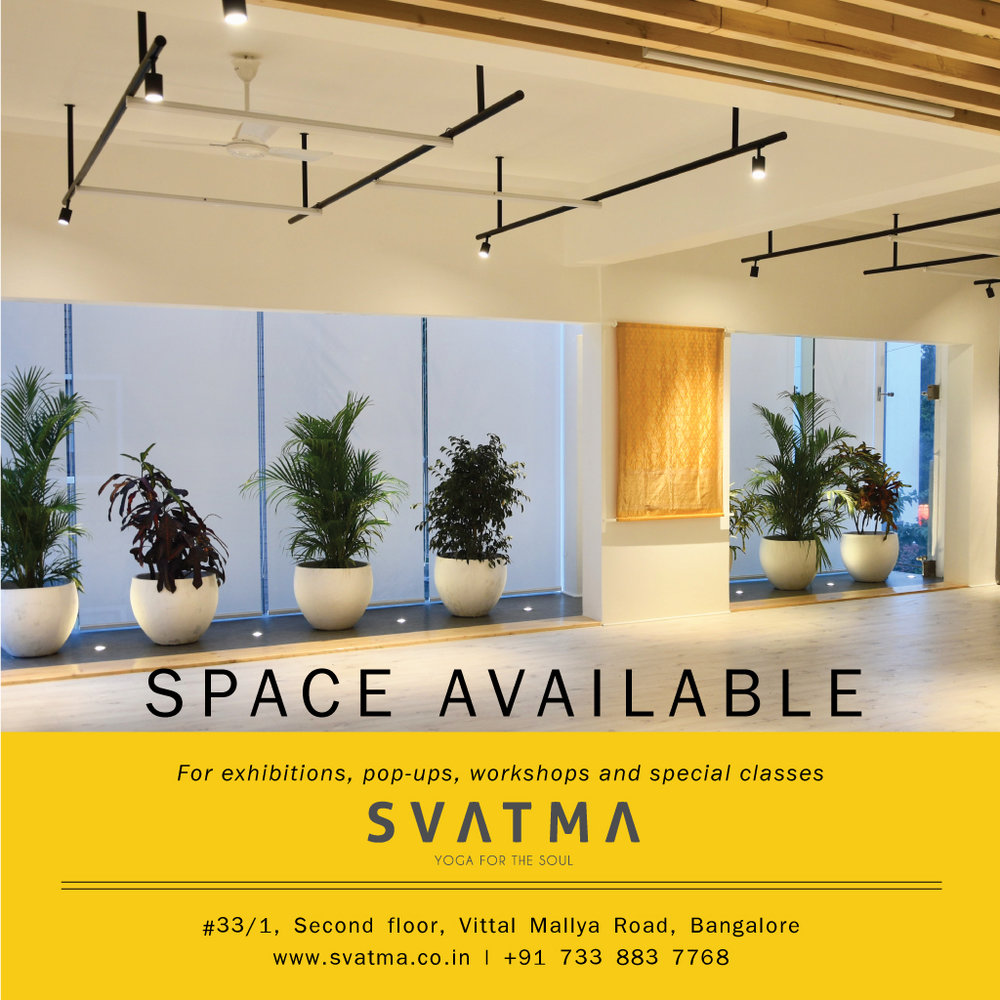 Looking for a space to exhibit your brand? Svatma's studio space is AVAILABLE ON RENT to display your products.  The studio space is centrally located and it's ambience will add value to your brand proposition. Svatma encourage brands that promote ecofriendly and healthy lifestyles.  Call us on 07338837768 to enquire.
