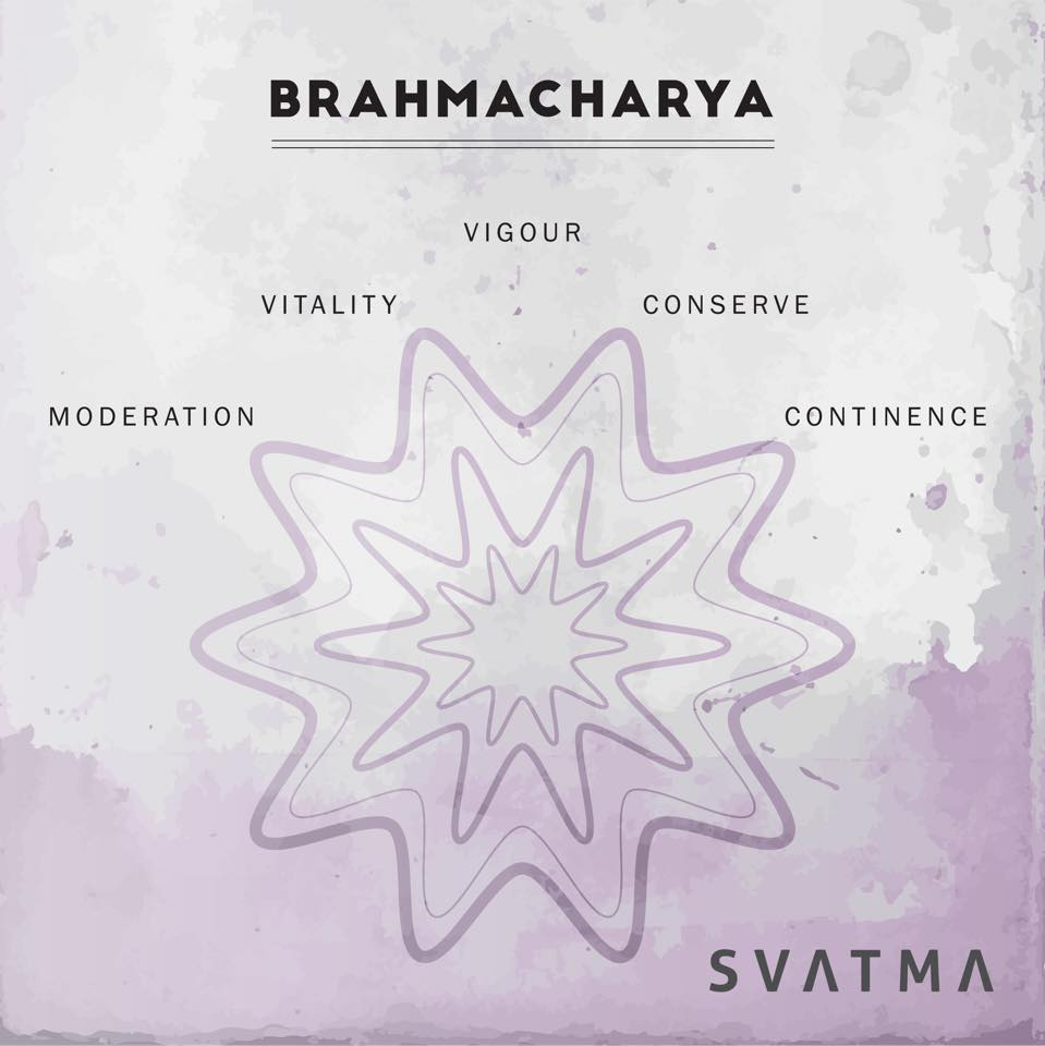 Traditionally, 'Brahmacharya' was meant to encourage those involved in the practice of Yoga to conserve their sexual energy, in favour of using that energy to further progress along the Yogic path. Regarding Brahmacharya as 'right use of energy' leads us to consider how we actually use and direct our energy. So if your energy levels are flagging at the moment, consider whether your daily tasks are draining you of your vitality. Brahmacharya also evokes a sense of directing our energy away from external desires. Could you find a way to take a few moments a day to just stop and breathe and find a little peace?