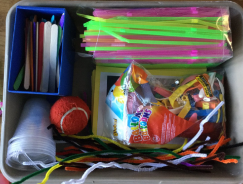 'Materials Challenge' box, ready for STEM club
