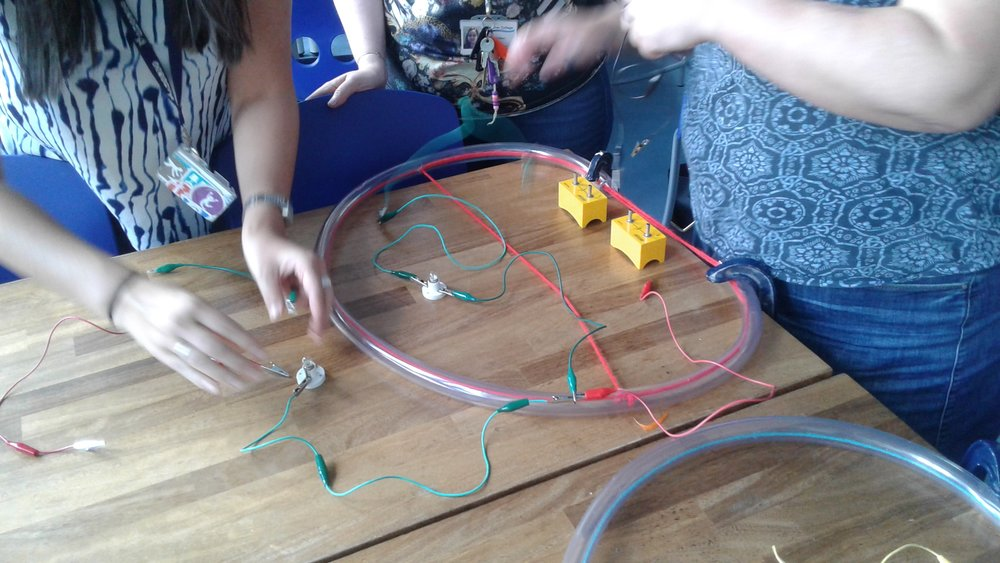 Teachers build circuits and use a physical model, made of a rope inside plastic tubing, to explain their observations