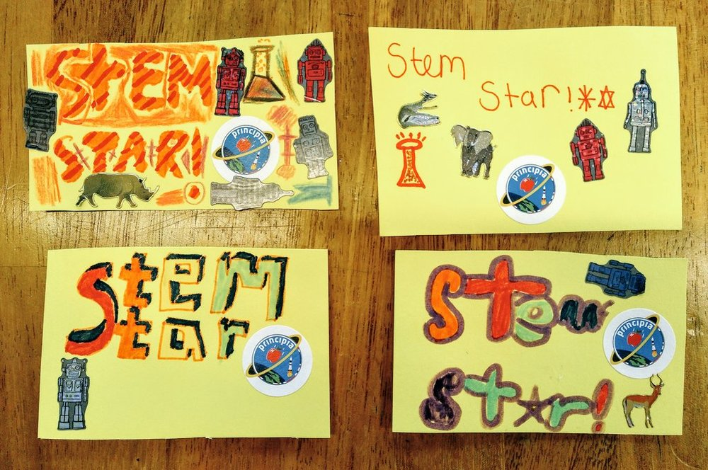 The STEM Star badges designed and made by children