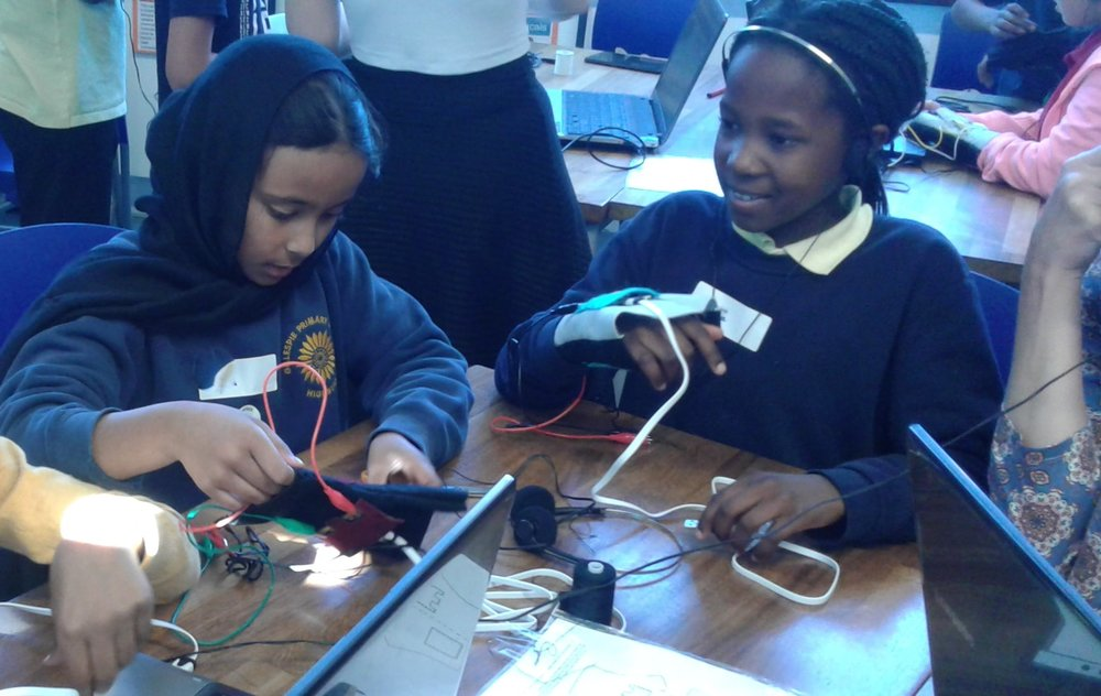Latest news: musical gloves workshop - Children and teachers from six of our Science for Life schools took part in a series of gesture-controlled musical glove workshops at Gillespie Primary School!