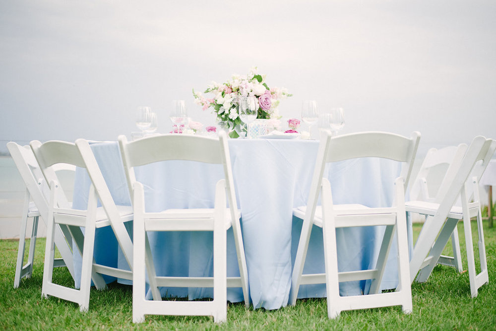 wedding table centrepiece in soft pastel flowers