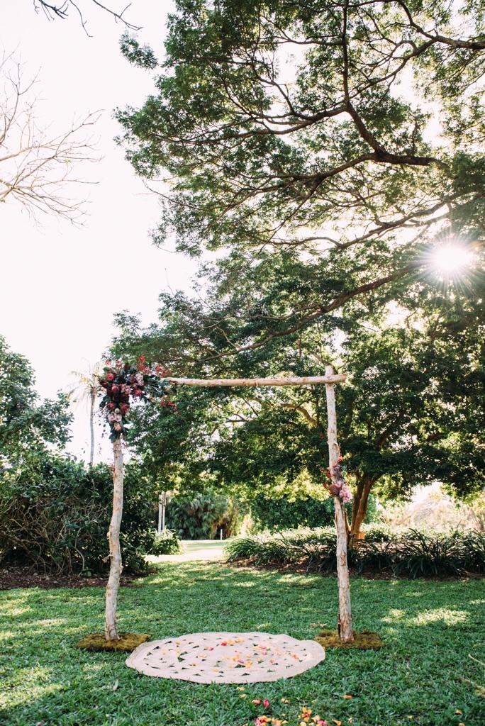 wedding ceremony at Darwin Botanic Gardens