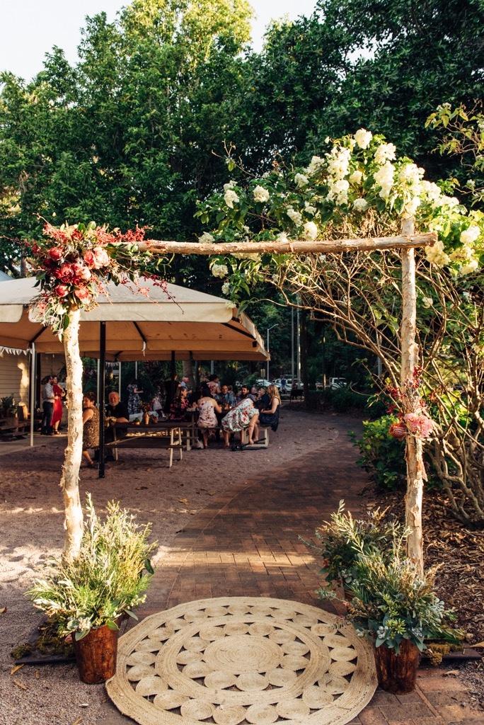 paperbark wedding arbour at Evas Cafe, Darwin