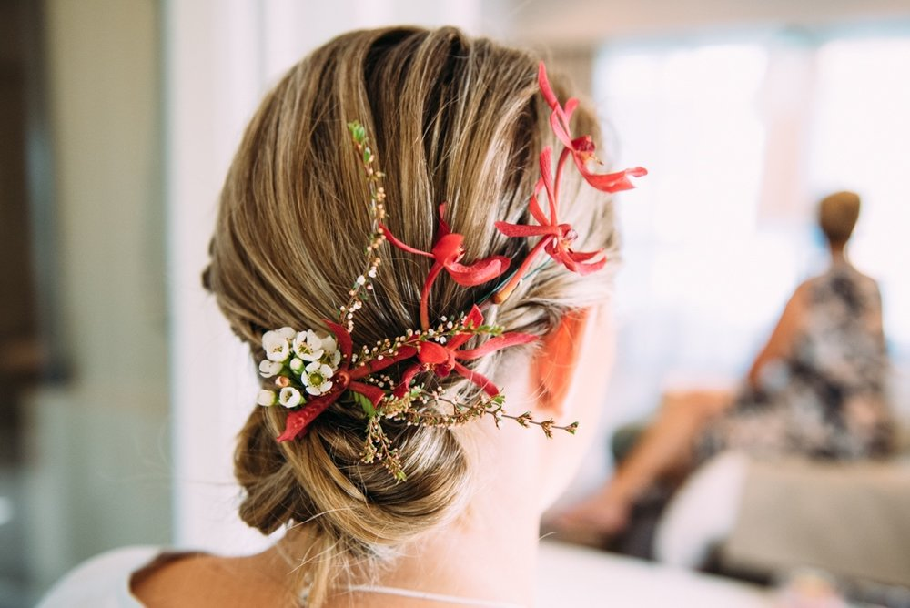 native hair flowers for a Darwin bride