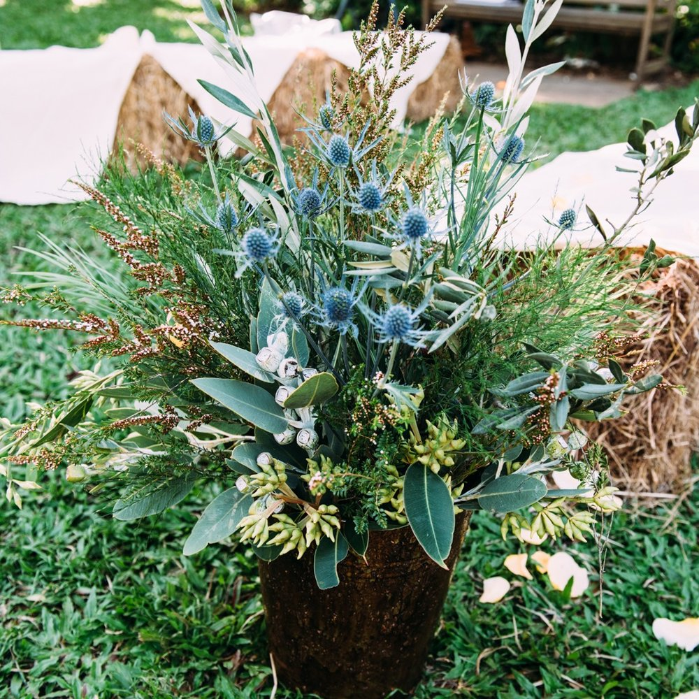 rusty pails filled with eucalyptus and sea holly line the aisle of this laid-back wedding