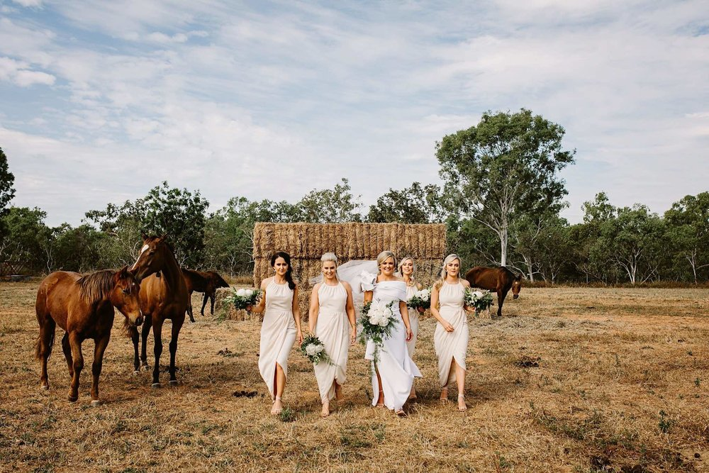Georgia and her bridesmaids in the paddock