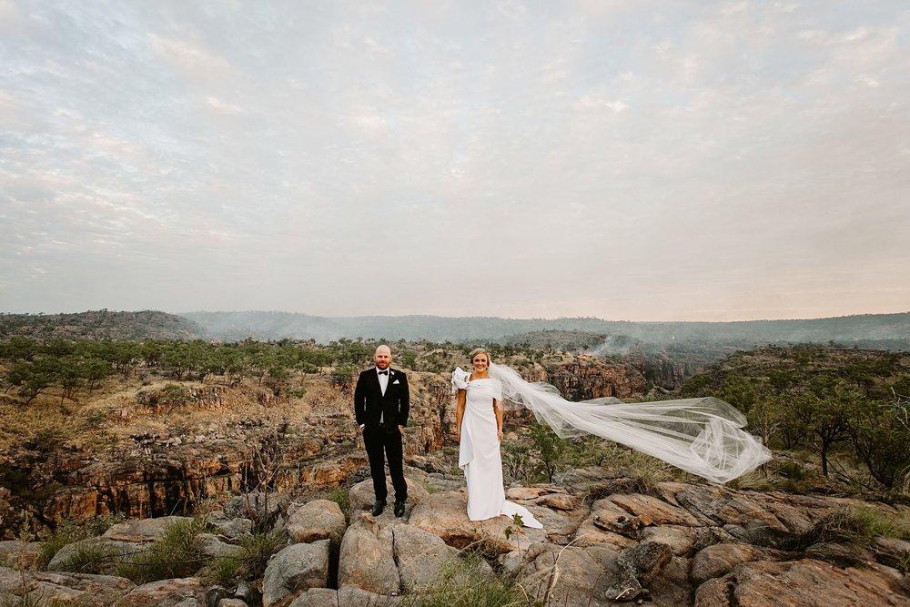 bride and groom at Katherine Gorge