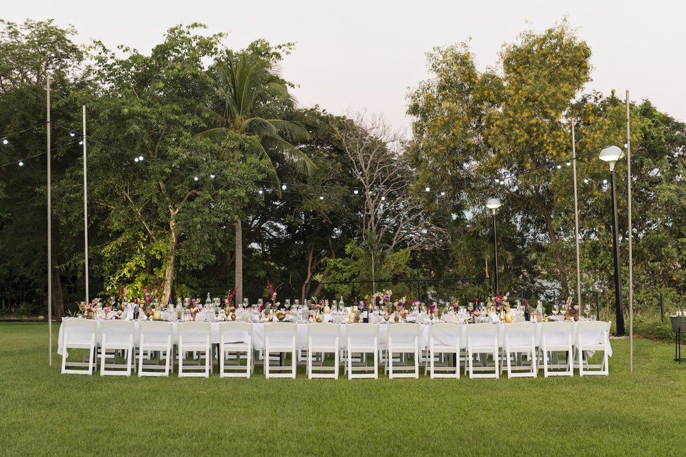 long wedding reception tables at Pee Wees, Darwin