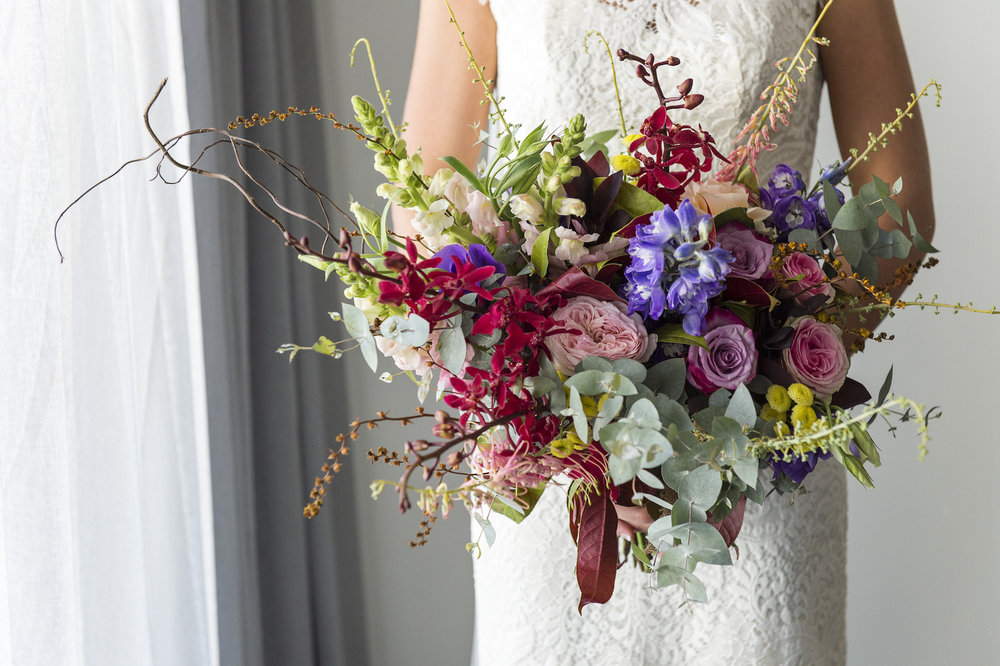 brides bouquet of summer flowers
